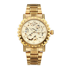 WINNER Ανδρικά Ρολόι Καρπού μηχανικό ρολόι Αυτόματο κούρδισμα Εσωτερικού Μηχανισμού Ανοξείδωτο Ατσάλι Μπάντα Πολυτελές Χρυσό