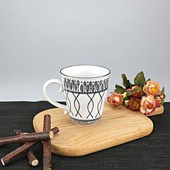 Minimalizm Parti Bardak Takımı, 250 ml Basit Geometrik Desen Yeniden kullanılabilir Porselen Çay ÇıplakGünlük Bardaklar Çay Fincanları