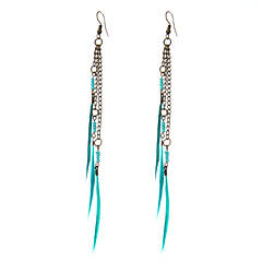 preiswerte Ohrringe-Damen Quaste Tropfen-Ohrringe - Freunde Einzigartiges Design, Böhmische, Natur Blau Für Party / Geschäft / Normal