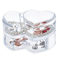 Acryl grote capaciteit hart make-up cosmetica opslag organizer juwelen display doos deksel lade