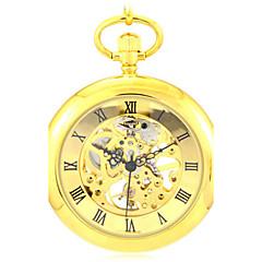 お買い得  懐中時計-男性 スケルトン腕時計 懐中時計 機械式時計 クォーツ 自動巻き 合金 バンド ゴールド