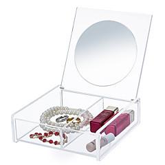 Spiegel Make-updoos Others Make-up opbergsysteem Effen Kwadraat Acryl Oranjegeel