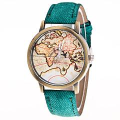 preiswerte Herrenuhren-Herrn Damen Modeuhr Quartz Armbanduhren für den Alltag Leder Band Analog Retro Weltkarte Muster Schwarz / Weiß / Blau - Grün Blau Rosa