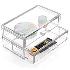 Acrylic Transparent Complex Combined Large Capacity Quadrate Double 2 Layer Makeup Cosmetics Storage Drawer Cosmetic Organizer Jewelry Display Box