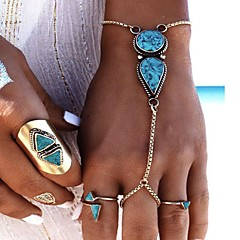cheap Bracelets-Women's Turquoise Ring Bracelet - Fashion Geometric Silver Bracelet For Party Birthday Gift