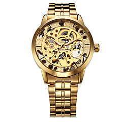 お買い得  大特価腕時計-WINNER 男性用 リストウォッチ / 機械式時計 透かし加工 ステンレス バンド ぜいたく ゴールド / 自動巻き