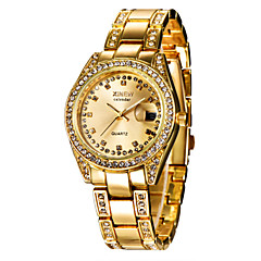 preiswerte Damenuhren-Damen Armbanduhr Kalender / Imitation Diamant Edelstahl Band Charme / Modisch Silber / Gold / Ein Jahr / SSUO 377