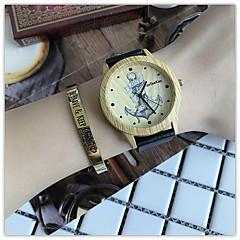 お買い得  メンズ腕時計-女性用 リストウォッチ 中国 クール / 木製 レザー バンド カジュアル / ウッド ブラック / ブラウン / カーキ