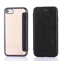 Недорогие Кейсы для iPhone 5-Кейс для Назначение Apple iPhone 7 Plus iPhone 7 Бумажник для карт Покрытие Чехол Сплошной цвет Твердый Кожа PU для iPhone 7 Plus iPhone