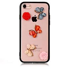 Недорогие Кейсы для iPhone 7-Кейс для Назначение Apple iPhone 7 Plus iPhone 7 Защита от удара Кейс на заднюю панель Бабочка Цветы 3D в мультяшном стиле Твердый Акрил