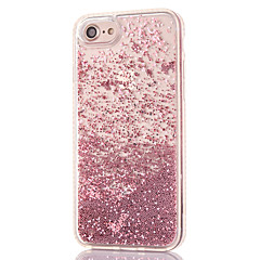 billige iPhone-etuier-Etui Til Apple iPhone 8 iPhone 8 Plus Rhinsten Flydende væske Transparent Bagcover Glitterskin Hårdt PC for iPhone 8 Plus iPhone 8 iPhone