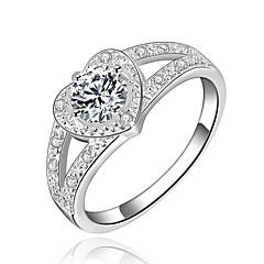 olcso Női ékszerek-Női Kocka cirkónia Ezüstözött Szív Gyűrű - Szív Ezüst Gyűrű Kompatibilitás Napi