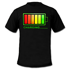 LED T-shirts 100% Katoen 2 AAA Batterijen