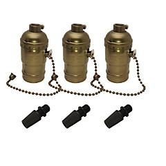 abordables Accessoires LED-3 pcs e26 / e27 edison socle rétro pendentif porte-lampe en aluminium de style fermeture à glissière industrielle douille avec interrupteur marche / arrêt à chaîne