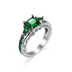 お買い得  指輪-女性用 指輪 合成エメラルド ユニーク ファッション 欧米の ジルコン 绿宝石 合金 ジュエリー ジュエリー 用途 結婚式 パーティー