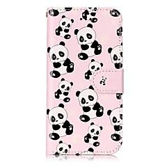 Для яблока iphone 7 7 плюс 6s 6 плюс se 5s 5 чехол для крышки панды шаблон блеск рельеф pu материал карта стент кошелек телефон чехол