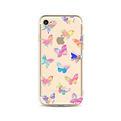 Недорогие Кейсы для iPhone 5-Кейс для Назначение Apple iPhone X iPhone 8 Plus Прозрачный С узором Кейс на заднюю панель Бабочка Мягкий ТПУ для iPhone X iPhone 8 Pluss