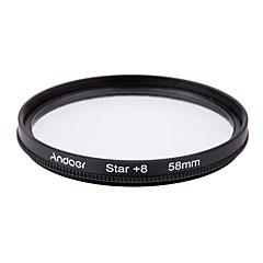 Andoer filtro de 58mm uv cpl star kit de filtro de 8 puntos con funda para Canon nikon sony dslr lente de la cámara
