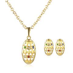 Жен. Ожерелья с подвесками Серьги указан Круглый дизайн В виде подвески Геометрический Классика Винтаж Регулируется ПозолотаОвальной
