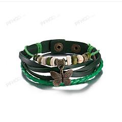 Недорогие Женские украшения-Муж. Жен. Кожа В форме банта Кожаные браслеты - Винтаж В форме банта Зеленый Браслеты Назначение На каждый день
