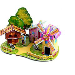 ieftine -Puzzle 3D Puzzle Morișcă Aeronavă Moara de vant Clădire celebru Casă Arhitectură Reparații Hârtie Rigidă pentru Felicitări Clasic Anime