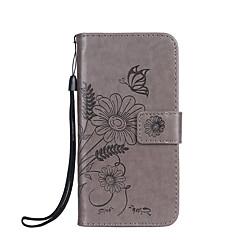 Недорогие Чехлы и кейсы для Sony-Кейс для Назначение Sony Бумажник для карт Кошелек со стендом Флип Рельефный Чехол Бабочка Цветы Твердый Кожа PU для Sony Xperia XZ Sony