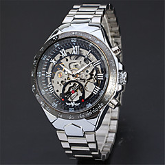 お買い得  メンズ腕時計-男性用 リストウォッチ / 機械式時計 中国 カジュアルウォッチ / クール ステンレス バンド カジュアル / ファッション / エレガント シルバー / 自動巻き