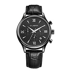 Men's Fashion Watch Chinese Quartz Genuine Leather Band Casual Black Brown