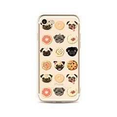 Недорогие Кейсы для iPhone 4s / 4-Кейс для Назначение Apple iPhone X / iPhone 8 Plus Прозрачный / С узором Кейс на заднюю панель Плитка / С собакой / Продукты питания Мягкий ТПУ для iPhone X / iPhone 8 Pluss / iPhone 8