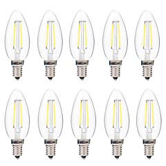 preiswerte LED-Birnen-BRELONG® 10 Stück 2W 200lm E14 LED Glühlampen C35 2 LED-Perlen COB Abblendbar Warmes Weiß Weiß 220-240V