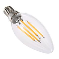 お買い得  LED 電球-YWXLIGHT® 4W 300-400lm E14 LEDキャンドルライト C35 4 LEDビーズ COB 調光可能 装飾用 温白色 220-240V