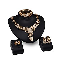 Mujer Pendientes cortos Collares con colgantes Brazalete Cristal Moda Personalizado Brillante Chapado en Oro Legierung Forma Geométrica