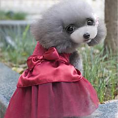 お買い得  犬用ウェア&アクセサリー-ネコ 犬 ドレス 犬用ウェア クリスタル・ラインストーン ダークブルー レッド コットン コスチューム ペット用 パーティー カジュアル/普段着 結婚式 新年