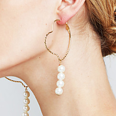 Women's Earrings Set Imitation Pearl Circle Euramerican Fashion Personalized Statement Jewelry Copper Circle Heart Cut Jewelry For