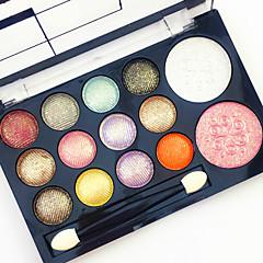 12 Glitter Shimmer Color Eyeshadow+2  Color Blush Blush+Oogschaduw Spiegel Make-up borstels Droog Mat Glinstering Heren Gezicht Lady