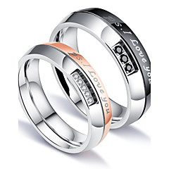 Men's Women's Couple Rings AAA Cubic Zirconia Fashion Simple Style Elegant Cubic Zirconia Titanium Steel Circle Jewelry For Wedding