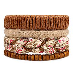 Férfi Női Strand Karkötők Wrap Karkötők Divat Bohemia stílus Állítható Multi-módon kell viselni Barkács (DIY) Fa Round Shape Flower Shape