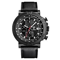 LIEBIG Ανδρικά Στρατιωτικό Ρολόι Ρολόι Καρπού Χαλαζίας Ημερολόγιο Χρονόμετρο Δέρμα Μπάντα Μαύρο