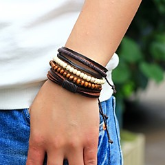 economico Bracciali-Per uomo Braccialetti del filo Dell'involucro del braccialetto - Pelle Personalizzato, Di tendenza Bracciali Marrone Per Strada