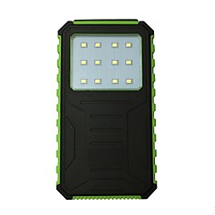 12000mAh 12LED 5V2A Waterproof Power Bank with Solar Charge for Mobile Phone