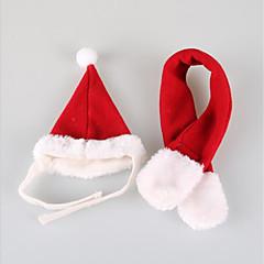 قط كلب قبعات و شرايط شعر ملابس الكلاب حفلة كاجوال/يومي الكوسبلاي الرياضات عيد الميلاد صلب أحمر كوستيوم للحيوانات الأليفة