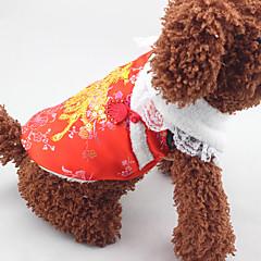 Χαμηλού Κόστους Ρούχα και αξεσουάρ για σκύλους-Σκύλος Παλτά Ρούχα για σκύλους Πρωτοχρονιά Πούλιες Κόκκινο Στολές Για κατοικίδια