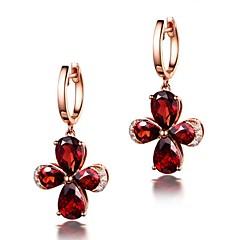 preiswerte Ohrringe-Damen Synthetischer Rubin Ohrstecker - Krystall, Rose Gold überzogen Blume Luxus, Klassisch, Simple Style Rot Für Party Geschenk Zeremonie