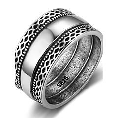 Mulheres Anéis Grossos Vintage Prata de Lei Forma Geométrica Jóias Para Diário Para Noite