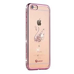 Назначение iPhone 6 iPhone 6 Plus Чехлы панели Стразы Покрытие Полупрозрачный Задняя крышка Кейс для Животное Мягкий Термопластик для