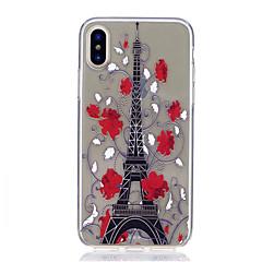 Назначение iPhone X iPhone 8 iPhone 8 Plus Чехлы панели Ультратонкий Прозрачный С узором Задняя крышка Кейс для Эйфелева башня Мягкий