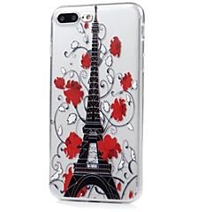 Назначение iPhone X iPhone 8 Чехлы панели Ультратонкий С узором Задняя крышка Кейс для Эйфелева башня Цветы Мягкий Термопластик для Apple