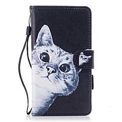 Кейс для Назначение Huawei P10 Lite Кошелек Бумажник для карт со стендом Флип С узором Магнитный Чехол Кот Твердый Искусственная кожа для