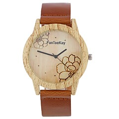 Heren Dames Modieus horloge Polshorloge Unieke creatieve horloge Horloge Hout Chinees Kwarts Leer Band Vintage Bloem Bedeltjes