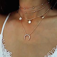 Damskie Naszyjniki z wisiorkami Łańcuszki na szyję Biżuteria Round Shape Księżyc Stop Modny Postarzane Bohemia Style Biżuteria Na Casual
